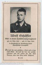 Morire immagine/DEATH CARD caporale paracadutista caduto in Francia
