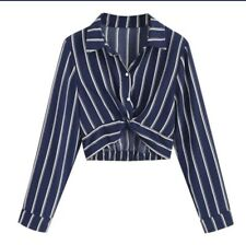 Stripe Crop Shirt In Navy Or White Size Small Only