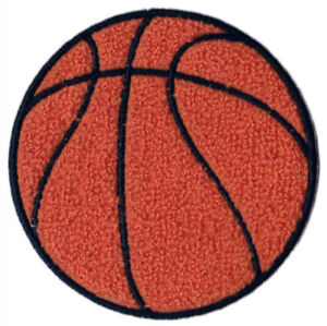 """BASKETBALL 4"""" ROUND CHENILLE EMBROIDERED PATCH APPLIQUE SEW ON STYLE"""