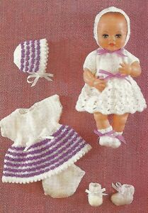"Knitting Pattern DK Baby Dolls Clothes 12""  Tiny Tears 2 Dress Sets"