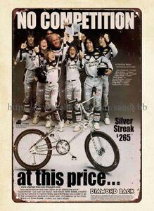 1982 Diamond Back Silver Streak bike bicycle metal tin sign garage bars bedroom