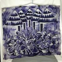 "African Theme Batik Wall Art - Village Meeting - 34"" x 38"" Signed -  Purple (965"
