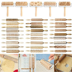 Christmas Embossing Wooden Rolling Pins Carved Wood Dough Engraved Roller  Ku