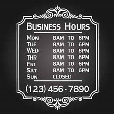 "Custom Business Store Hours Vinyl Window Decal 12""x18"" Outdoor Sticker Sign Door"
