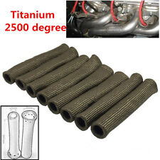 8 X Titanium 2500° Car Spark Plug Wire Boots Heat Shield Protector Sleeve Covers