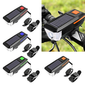 Solar USB LED Bicycle Light with Horn MTB Bike Bell Lamp Front Headlight Bicycle