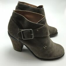 """Lucky Brand """"Mickie"""" 7.5M Brown Suede Ankle Boots Buckle Detail MSRP $159"""