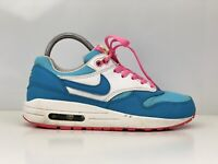 Nike Air Max 1 GS Girls Womens Blue And Pink Leather And Mesh Trainers UK Size 5