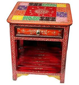 Handcrafted Vintage Wooden Multi Color Traditional Bedside Stool - RP-16