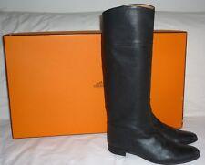 HERMES cuir noir bottes d'équitation (UK 5.5)