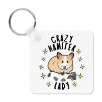 Crazy Hamster Lady Stars Keyring Key Chain - Funny Animal Pet