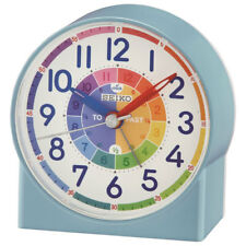 Seiko Childrens Time Teaching Blue Alarm Clock, Kids Bedroom Table Clock