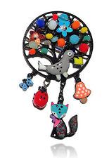 Lol bijoux - Broche arbre- Perles multicolores - Oiseau gris - Renard bleu