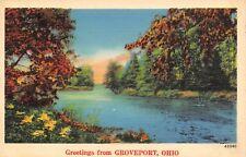Groveport Ohio~Summer Day at Big Walnut Creek~1940s Linen Postcard