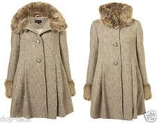 Topshop Boucle Wool Fur Collar Cuff Pleat Skirted Girly Vtg Swing Coat 6 34 US2