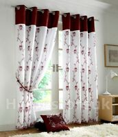 TAHITI BURGUNDY WHITE LINED CURTAIN READY MADE EYELET RING TOP NET VOILE WINDOW