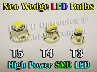 4 x Neo Wedge SMD SMT LED Bulbs T3 T4 T5 White Blue Red Green Amber HVAC AC