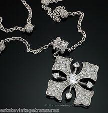 Sterling Silver Esposito Diamonique Pendant Enhancer Necklace Smart Snap Cross
