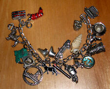 VINTAGE RARE 50's JEWELRY 20 STERLING SILVER .925 CHARM BRACELET WELLS BEAU