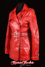 Ladies Red Real Lambskin Leather TRENCH COAT Belted Jacket Stylish Mac 1123