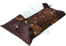 Thai Silk Brown Floral Kleenex Unique Accent Decorative Tissue box Cover Holder