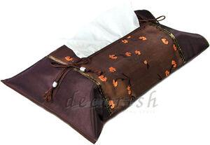 Thai Silk Brown Floral Kleenex Unique Accent Decorative Tissue box Cover Holder