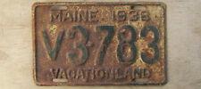 1938 MAINE LICENSE PLATE  # V3-783