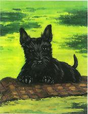 5x7 PRINT OF PAINTING SCOTTISH TERRIER PUPPY SCOTTIE RYTA PORTRAIT FOLK ART DOG