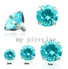 14G Surgical Steel Round Aqua CZ Prong Set Internally Threaded Dermal Anchor Top