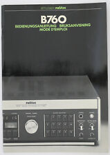 Studer / REVOX B760 ORIGINAL Magnetófono INSTRUCCIONES DE EMPLEO/modos D`Emploi