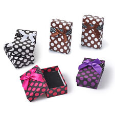 12 Polka Dot Cardboard Jewelry Gift Boxes Bowknot Display Packing Cases 80x50mm