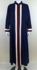 VANITY FAIR Vintage Velour Robe Gown sz M Navy Burgundy Ivory Long Length USA