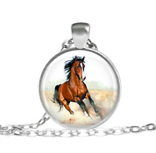 Bronze Mustang Horse Necklace Tibet silver pendant chain Necklace