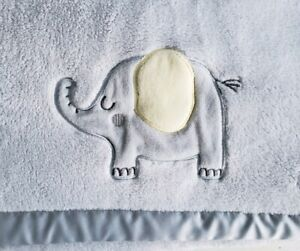 Just Born Baby Blanket Gray Elephant Satin Silky Trim Fleece Yellow Ear Plush