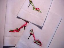 3 Christmas Guest Fingertip Decorative Bathroom Towels Embroidered High Heels