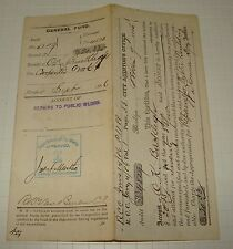 ORIG 1886 NYC AUDITORS PAY VOUCHER FOR REPAIRS TO NY CITY HALL TOWER FIRE ALARM