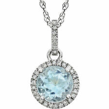 Blue Topaz Birthstone Necklace In 14K White Gold (1/10 ct. tw