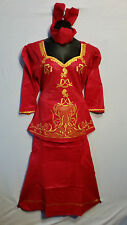 Women Clothing African Dashiki Skirt Suit Attire Red Free Size Print #9315