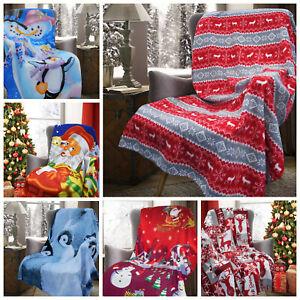 Xmas Polar Fleece Blanket Throw 127x152cm - Santa,Snowman,Nordic,Snow,penguin