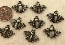 Old Stock 15 x 21mm Bronze Tone Metal Bee Charms 8