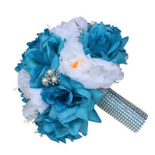 Keepsake Large Peony Rose bouquet Turquoise Blue White Silver accents