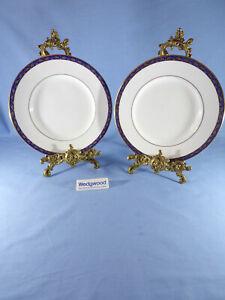 Vintage Wedgwood Marina Blue Pattern Salad Plates Gold Gilded Quantity 2