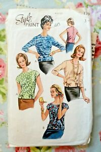 """Vintage 1950s/1960s Style Sewing Pattern. To Make Ladies Blouse/Top. 40"""" Bust"""