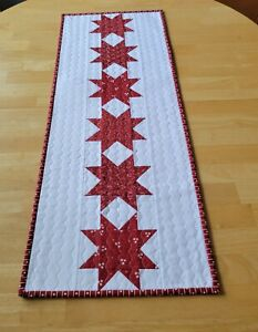 Handmade quilted table runner/red/floral/stars