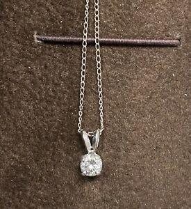 "14k White Gold Women's Solitaire Round Diamond Pendant necklace Chain 18"""