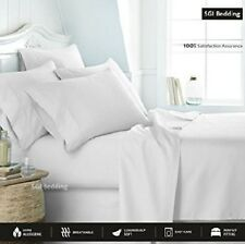 100% Egyptian Cotton, 600 Thread Count, 4-Piece Bed Sheet Set, Queen White