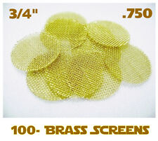 "100 BRASS SCREENS 3/4"" .750 Pipe HEAVY DUTY Tobacco Long lasting Smoking"