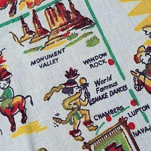 Vintage ~Arizona~ State Souvenir Figural Tablecloth 30 X 38 Rare Yucca Cloth