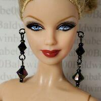 JEWELRY ~ BARBIE DOLL MODEL MUSE CHER TURN BACK TIME BLACK DANGLING EARRINGS