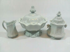 T&R Boote White Ironstone Sydenham Shape Set, Tureen + Creamer + Sugar Bowl 1854